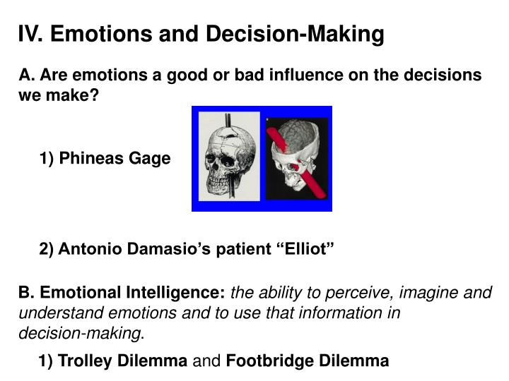 IV. Emotions and Decision-Making