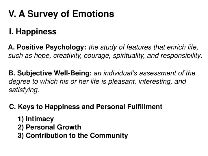 V. A Survey of Emotions