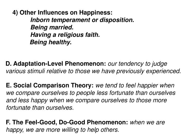 4) Other Influences on Happiness: