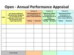 open annual performance appraisal