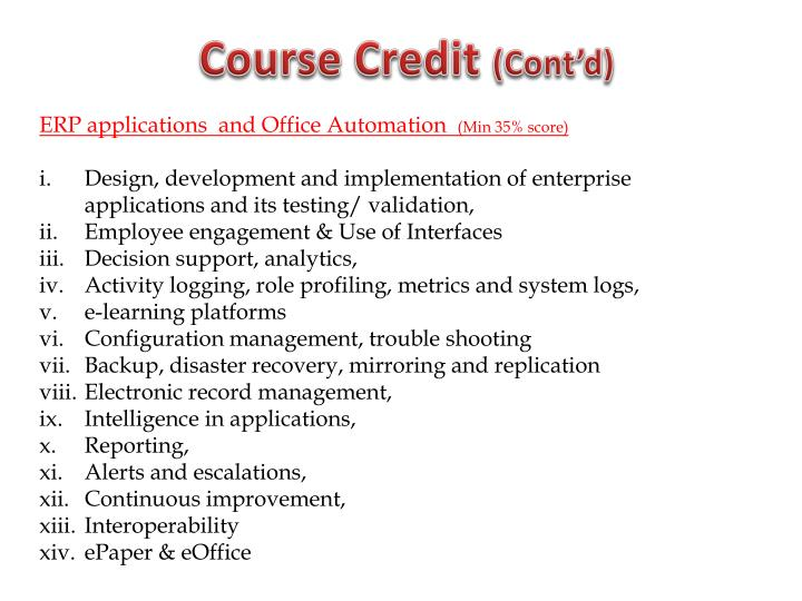 Course Credit