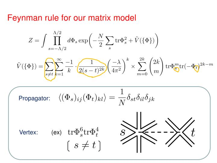 Feynman rule for our matrix model