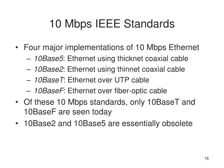 10 Mbps IEEE Standards