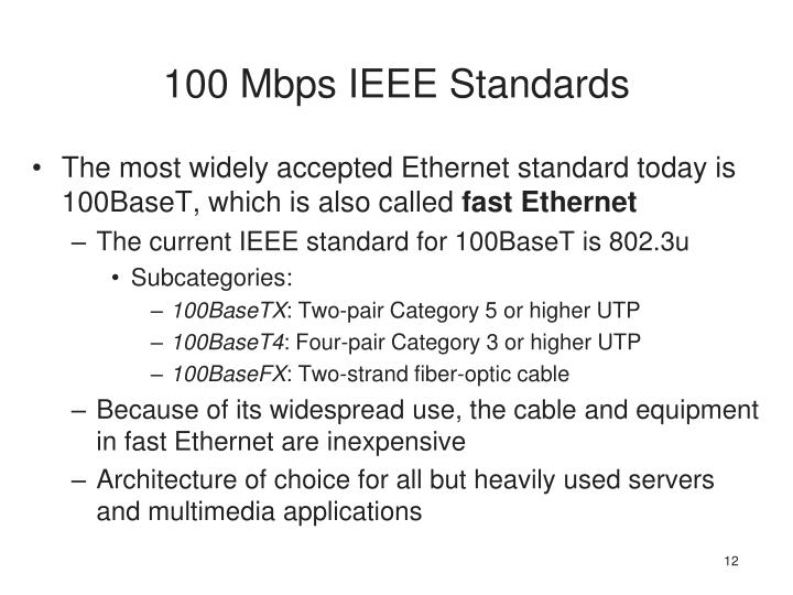 100 Mbps IEEE Standards