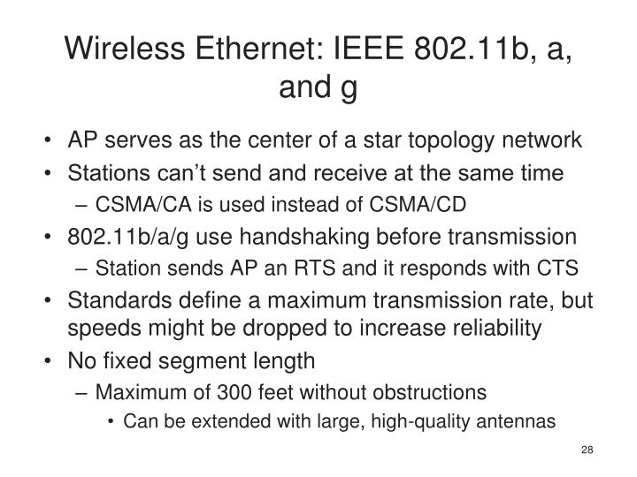 Wireless Ethernet: IEEE 802.11b, a, and g