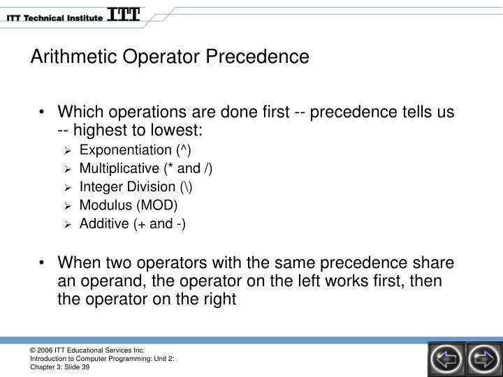 Arithmetic Operator Precedence