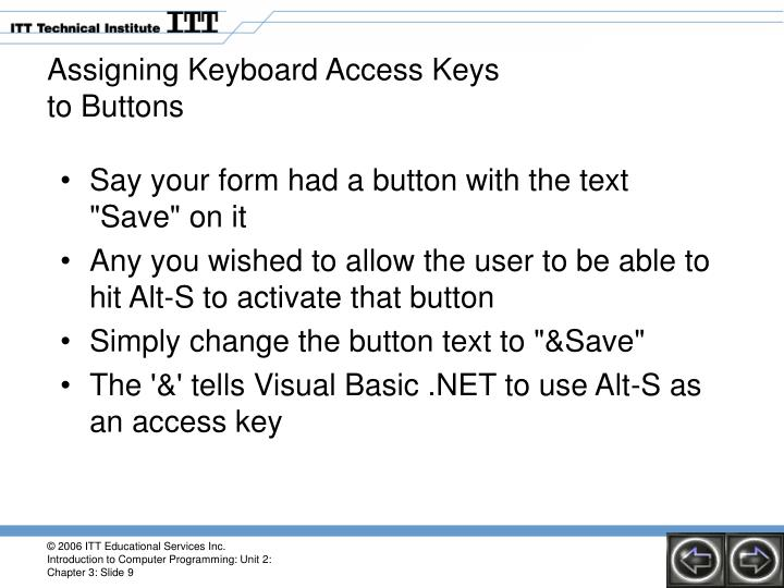 Assigning Keyboard Access Keys
