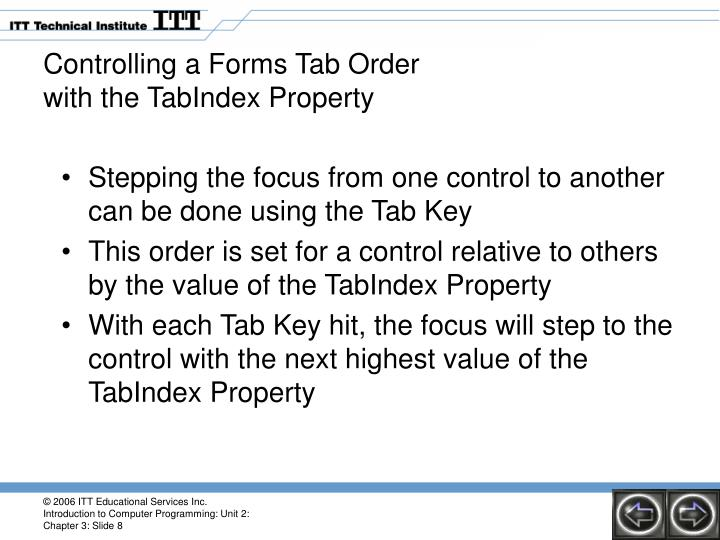 Controlling a Forms Tab Order