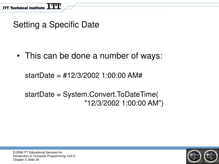 Setting a Specific Date