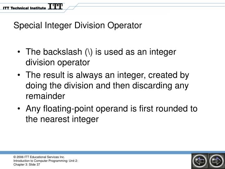 Special Integer Division Operator