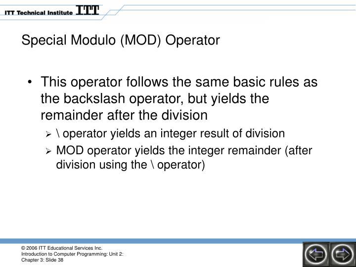 Special Modulo (MOD) Operator