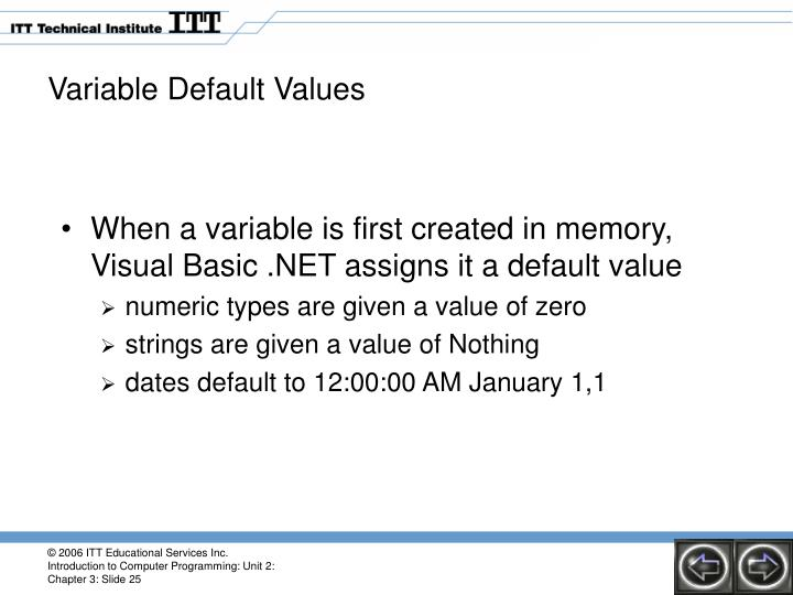 Variable Default Values