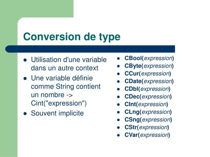 Utilisation d'une variable dans un autre context