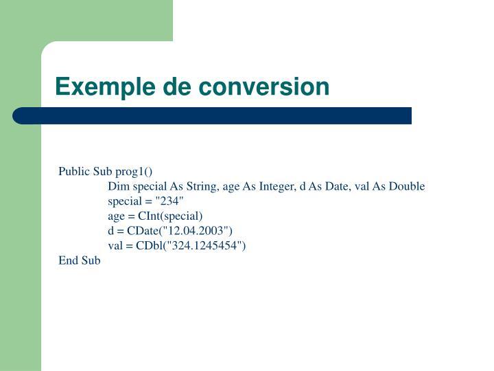 Exemple de conversion