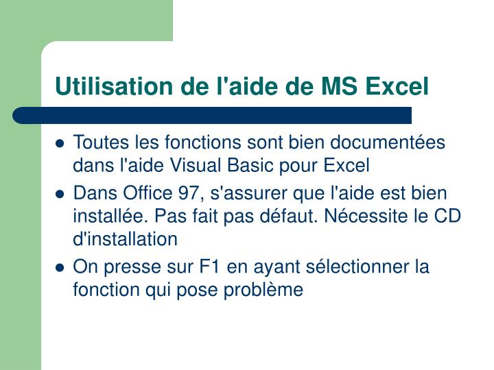 Utilisation de l'aide de MS Excel