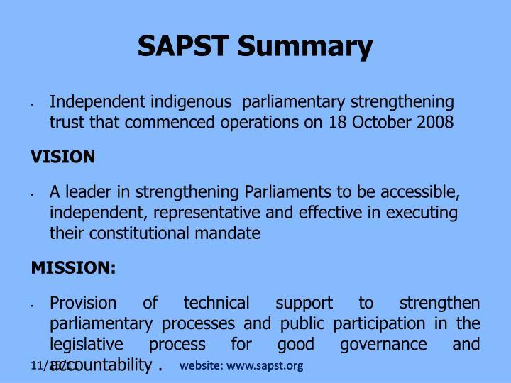 website: www.sapst.org