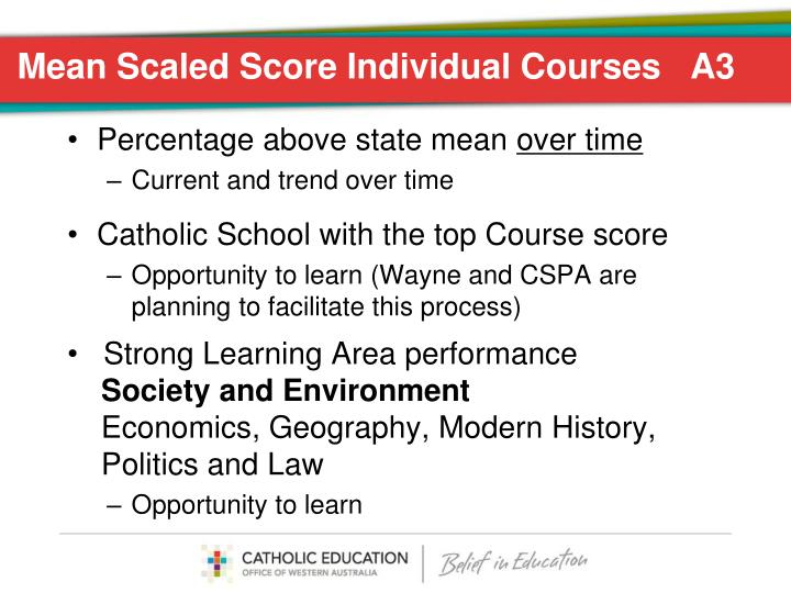 Mean Scaled Score Individual Courses   A3