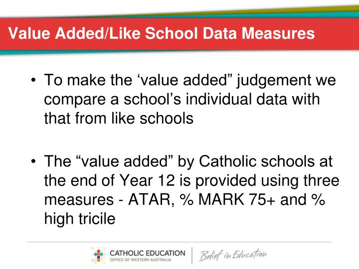 Value Added/Like School Data Measures