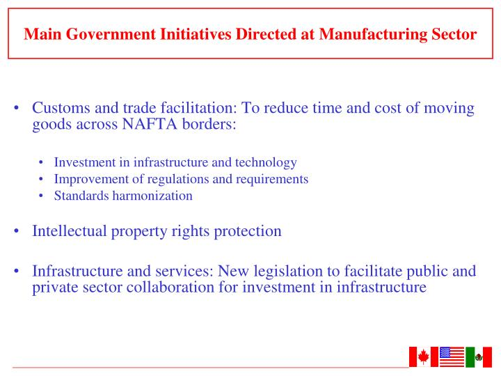 Main Government Initiatives Directed at Manufacturing Sector