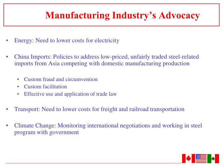 Manufacturing Industry's Advocacy