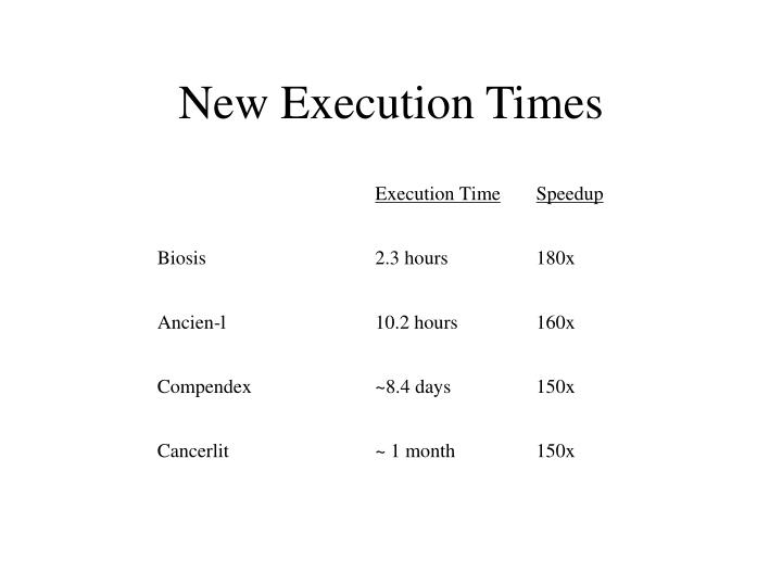 New Execution Times