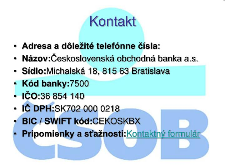 Adresa a dôležité telefónne čísla: