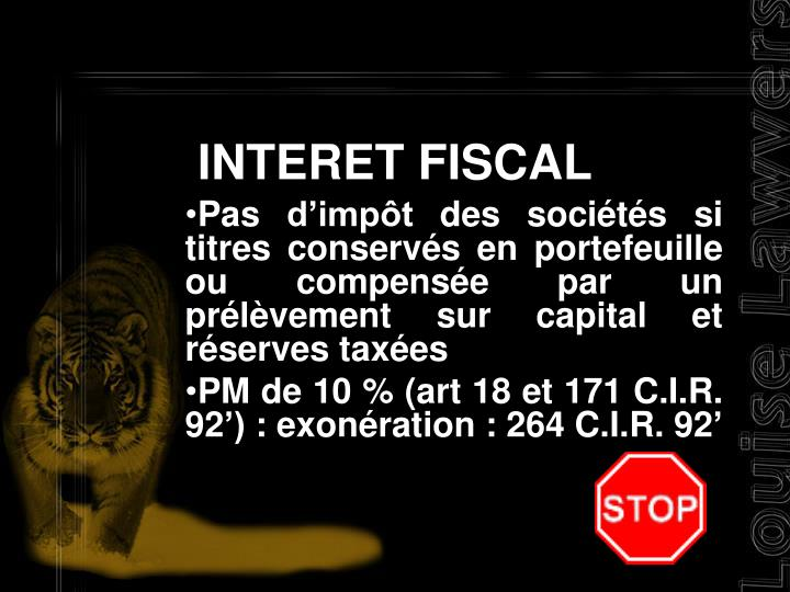 INTERET FISCAL