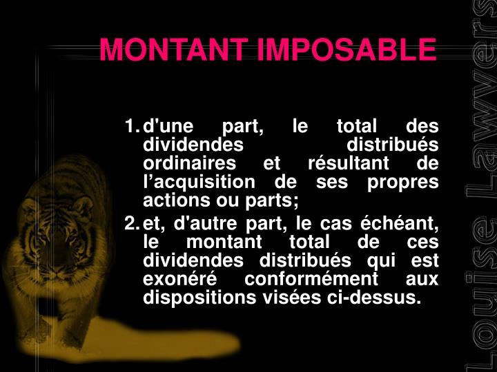 MONTANT IMPOSABLE