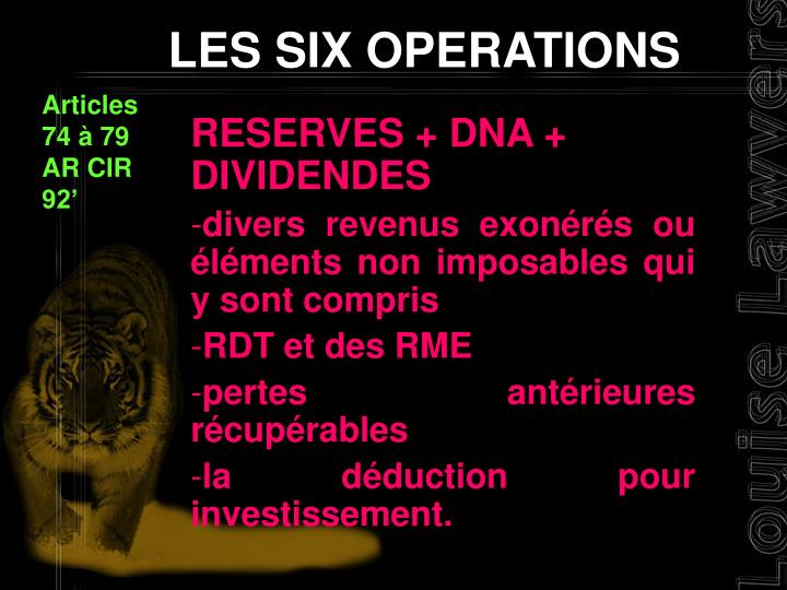 LES SIX OPERATIONS