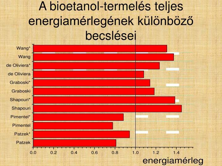 A bioetanol-termelés teljes energiamérlegének különböző becslései