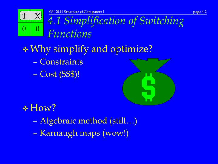 4 1 simplification of switching functions