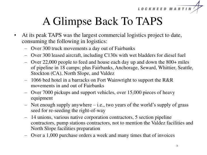 A glimpse back to taps