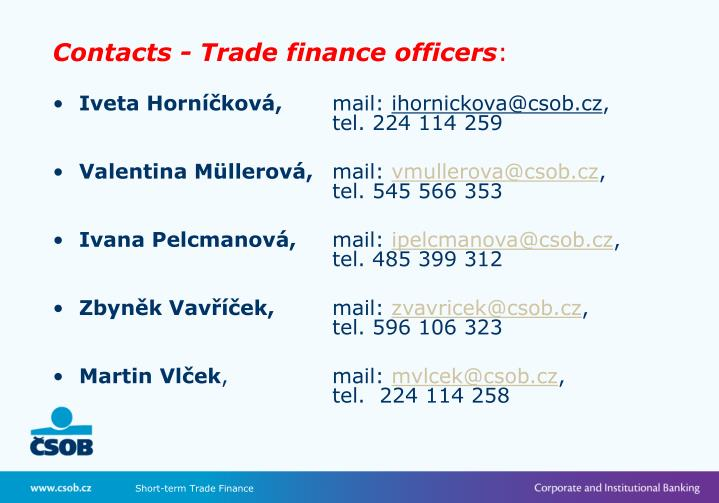 Contacts - Trade finance officers