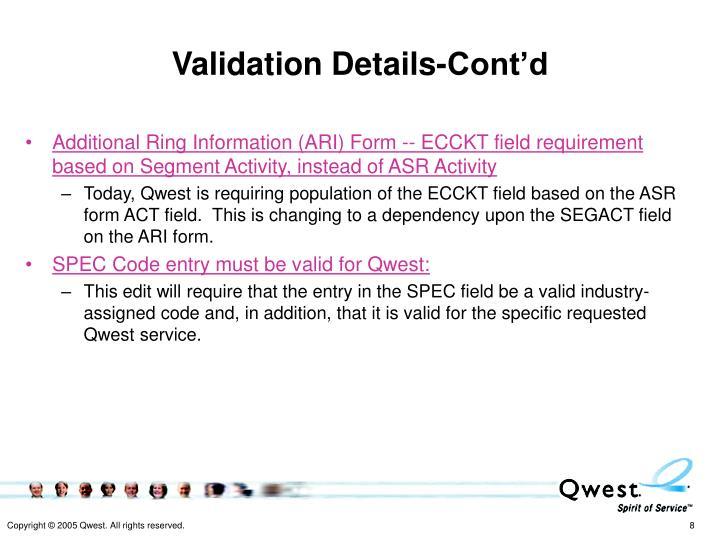 Validation Details-Cont'd