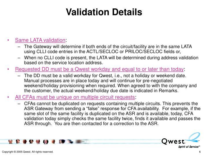 Validation Details