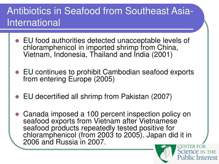 Antibiotics in Seafood from Southeast Asia-International