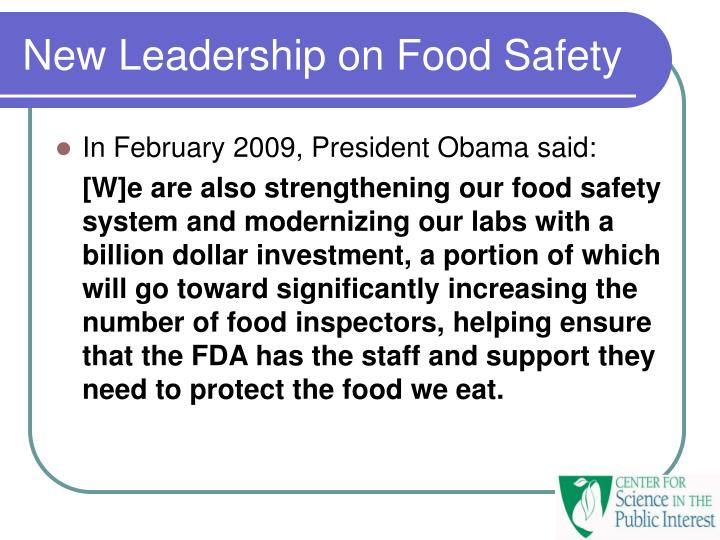 New Leadership on Food Safety