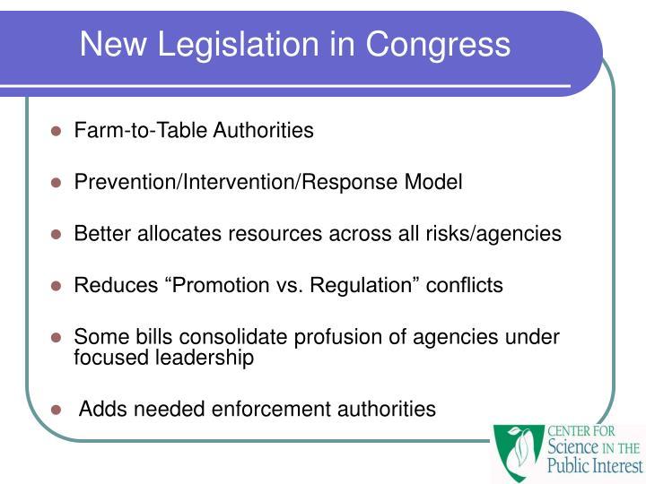 New Legislation in Congress