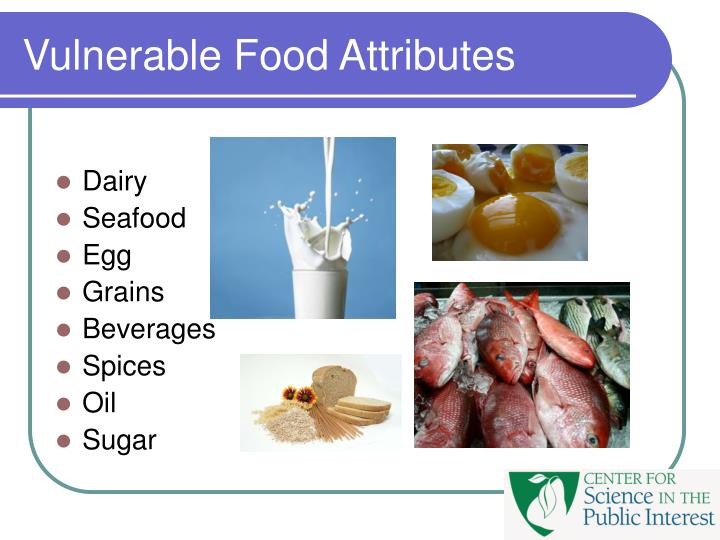 Vulnerable Food Attributes