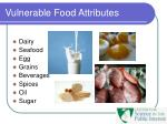vulnerable food attributes