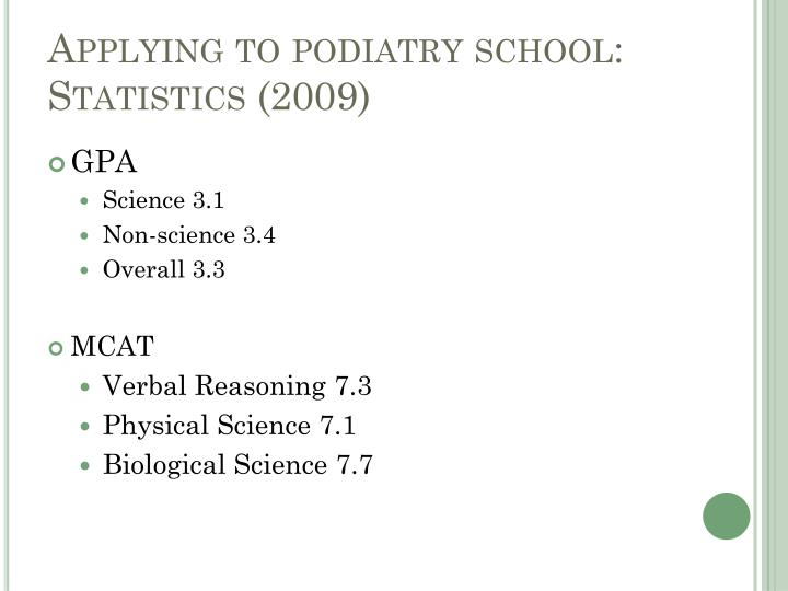 Applying to podiatry school: Statistics (2009)
