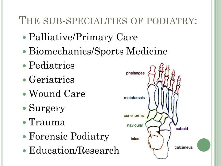 The sub-specialties of podiatry:
