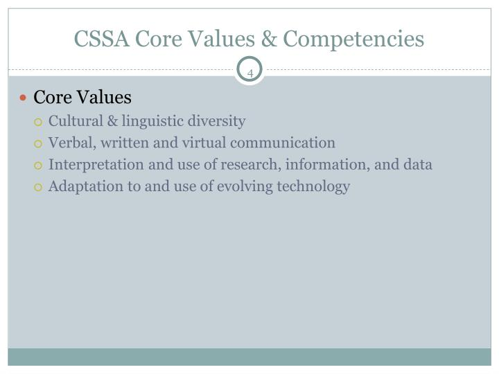 CSSA Core Values & Competencies