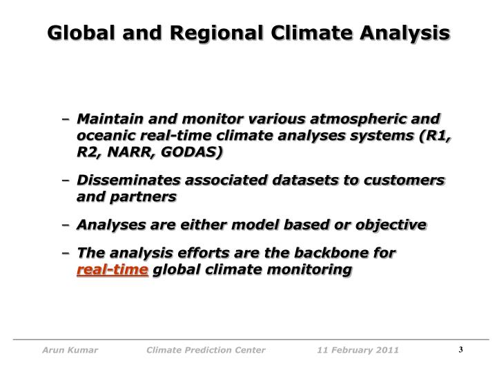 Global and regional climate analysis