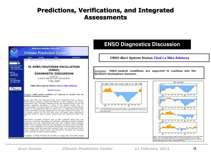 Predictions, Verifications, and Integrated Assessments
