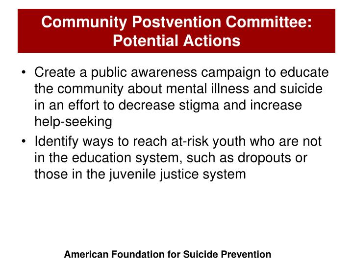 Community Postvention Committee: