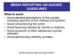 media reporting on suicide guidelines