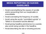 media reporting on suicide guidelines1