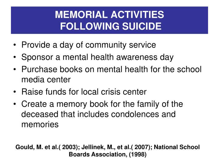 MEMORIAL ACTIVITIES