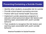 preventing containing a suicide cluster